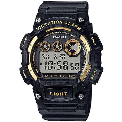 CASIO 靜音振動數位電子腕錶-黑X金(W-735H-1A2)/47mm