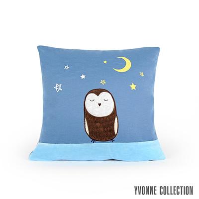 Yvonne Collection 貓頭鷹星空抱枕45x45cm-灰藍