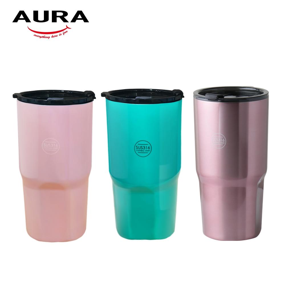 [買一送一] AURA艾樂 316不鏽鋼保溫酷冰杯900ML 附超密封蓋(快)