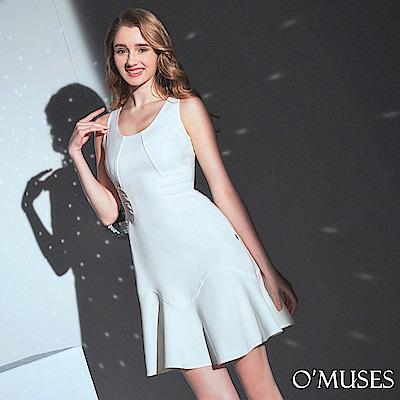 OMUSES 簡約修身荷葉裙襬洋裝