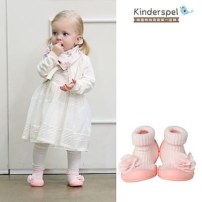 Kinderspel 輕柔細緻.套腳腳襪型學步鞋(花朵奶油粉)