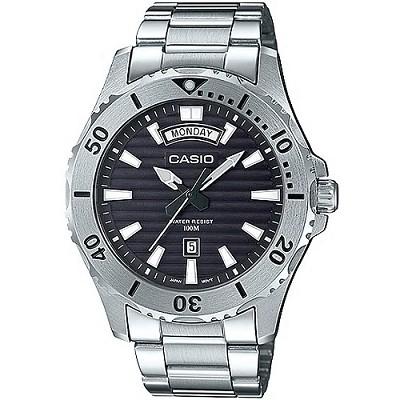 CASIO 城市獵人銀光大刻度都會不鏽鋼男錶-黑(MTD-1087D-1A)/40mm