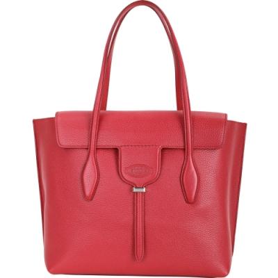 TOD'S New Joy Bag 中款 T釦翻蓋牛皮托特包(紅色)