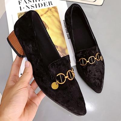 KEITH-WILL時尚鞋館 (現貨+預購) 優雅俐落優雅尖頭粗跟鞋-黑