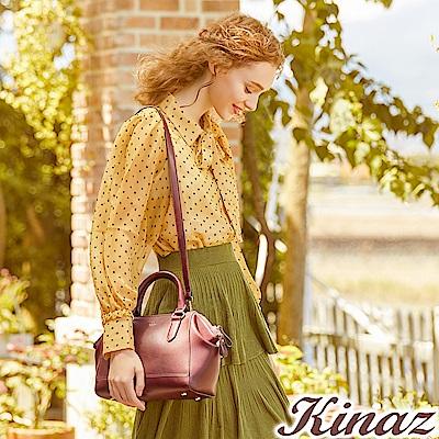 KINAZ 淑女派對兩用斜背波士頓包-醋栗紅-森林午茶系列