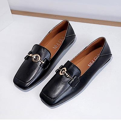 韓國KW美鞋館 韓時尚搖滾嘉年華拼懶人鞋-黑色