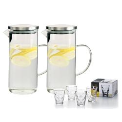 日本FOREVER 耐熱玻璃水壺 1L(手柄圓型款) 2入套組贈玻璃水杯四件套組