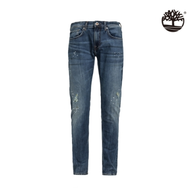 Timberland 男款中靛藍有機棉彈性牛仔褲|A2CDG