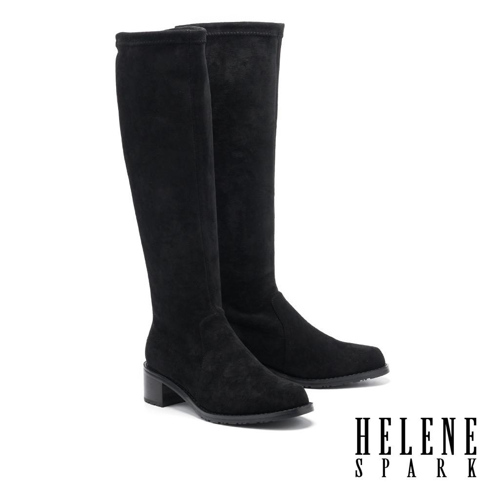 長靴 HELENE SPARK 極簡摩登品味彈力絨布粗跟長靴-黑