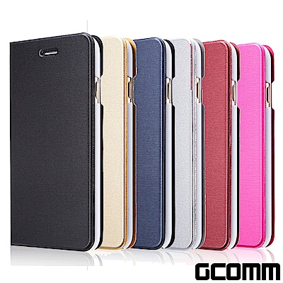 GCOMM iPhone 6S+/6+ 金屬質感拉絲紋超纖皮套 Metalic