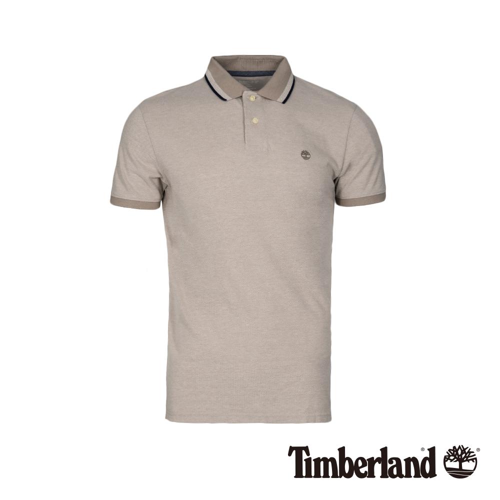Timberland 男款象灰色輕薄款修身短袖POLO衫|A1XCR