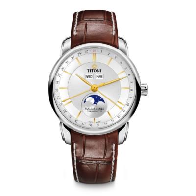 TITONI瑞士梅花錶 天文台認證月相錶(94588 S-ST-635)-白/41mm
