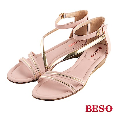 BESO 柔軟曲線 繚繞楔型涼鞋~粉