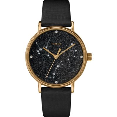 TIMEX 天美時 復刻系列 Swarovski星象手錶- 黑/37mm