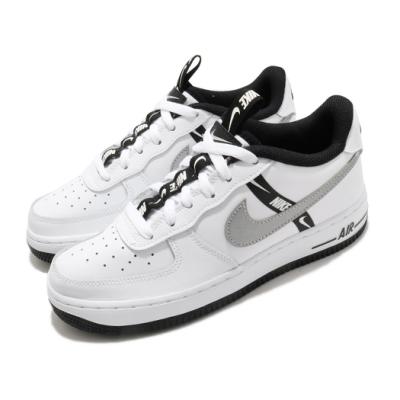 Nike 休閒鞋 Air Force 1 LV8 KSA 女鞋 經典款 AF1 皮革 簡約 穿搭 大童 白 黑 CT4683100