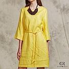 GLORY21 素雅編織綁帶亞麻洋裝-黃