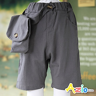 Azio Kids  短褲 腰帶鈕扣單口袋鬆緊短褲(灰)