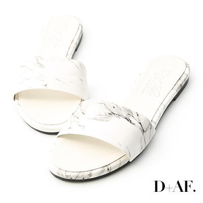D+AF 獨具品味.大理石紋一字平底拖鞋*白