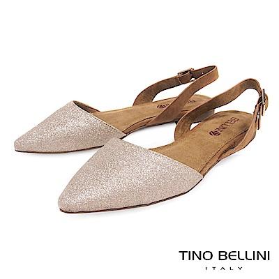 Tino Bellini 微光閃爍後拉帶尖頭平底鞋 _ 玫瑰金