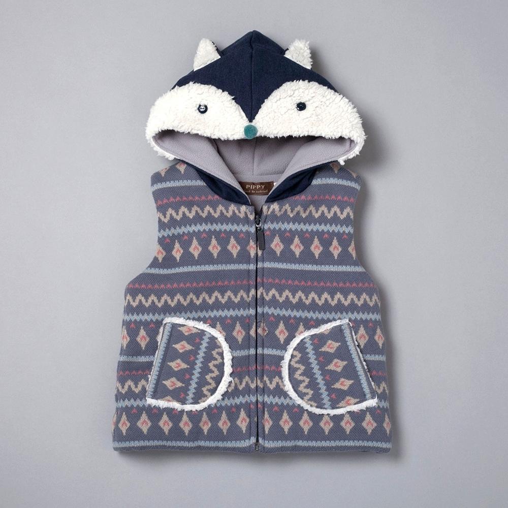 PIPPY 可愛小狐狸造型鋪棉背心 藍