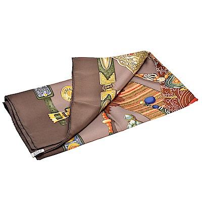 HERMES Tibet系列藏傳法器圖案真絲方巾(褐色-90X90cm)