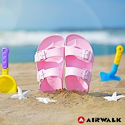 【AIRWALK】休閒雙扣環室內外AB拖鞋-淺粉