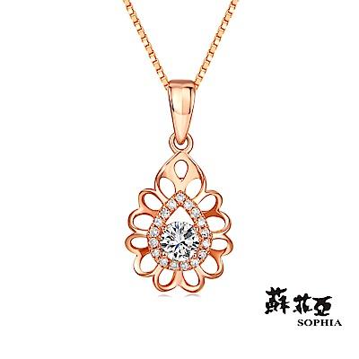蘇菲亞SOPHIA 鑽鍊-深情0.15克拉玫瑰金鑽石項鍊