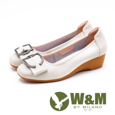 W&M 古典D扣楔型鞋 女鞋-白(另有黑)