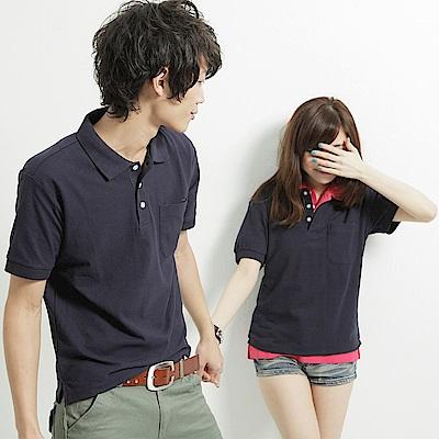 達邦 P0124大尺碼高磅數混搭必備素面口袋短袖POLO衫-藏青