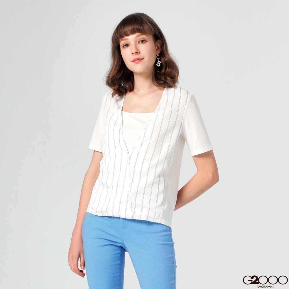 G2000條紋短袖休閒T恤-白色