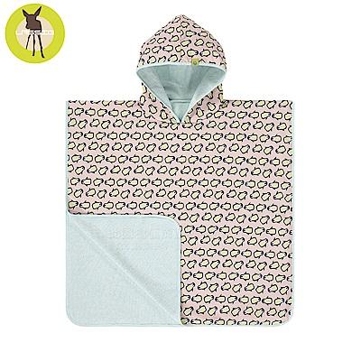 嬰幼兒抗UV斗篷沙灘巾-粉企鵝