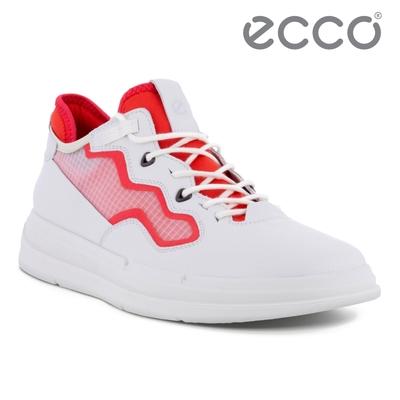 ECCO SOFT X W 純色亮眼網面拼接休閒鞋 女鞋 白色/木槿紅