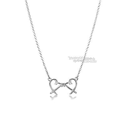 TIFFANY&Co. Loving Heart 心心相印鑲鑽925純銀項鍊
