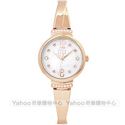 ELLE 閃耀晶鑽時尚手錶-珍珠貝X玫瑰金框/25mm