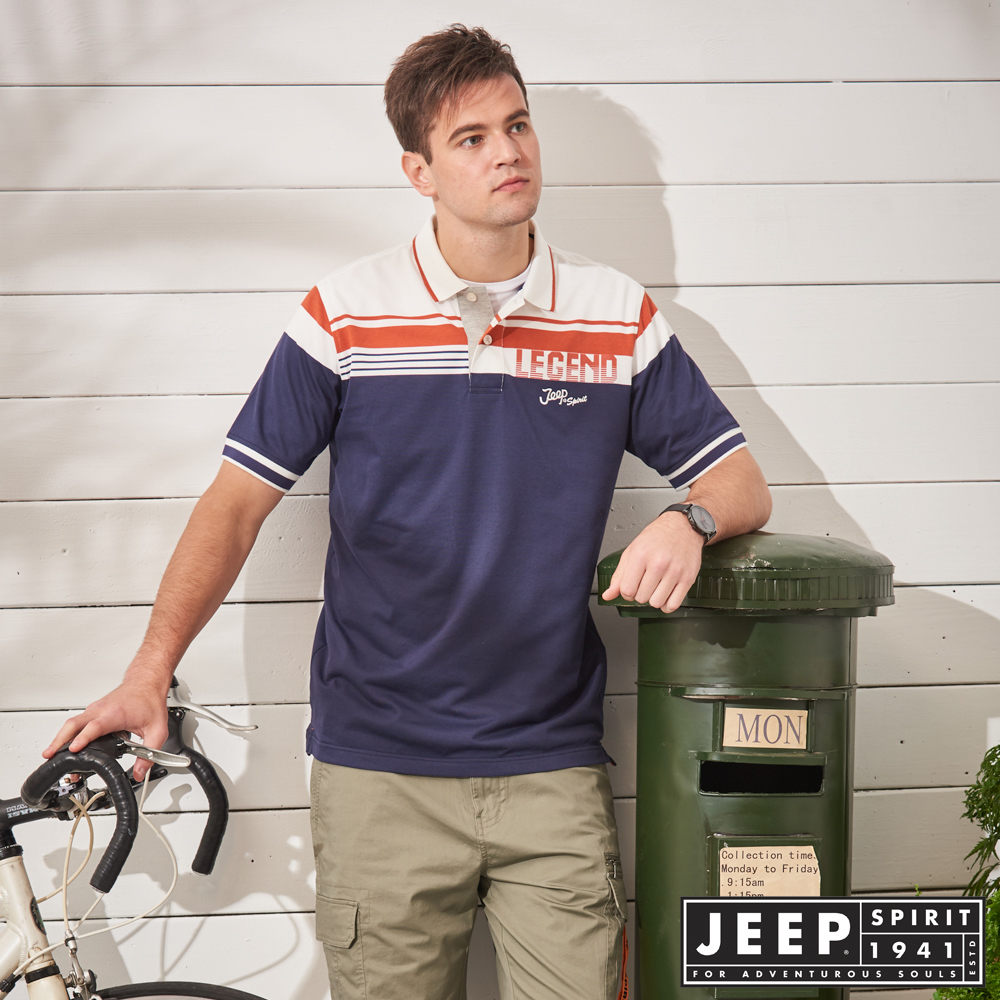JEEP 時尚跳色造型短袖POLO衫-深藍色