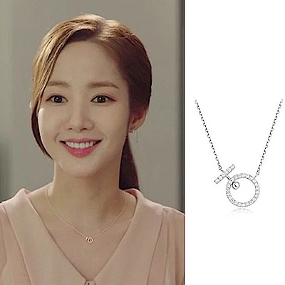 梨花HaNA 韓國S925銀金秘書為什麼那樣迷你鑽石之戀鎖骨鍊