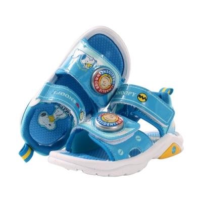 魔法Baby 男童鞋 台灣製史努比授權正版閃燈涼鞋 電燈鞋 sa05086