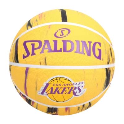 SPALDING NBA隊徽-湖人 #7籃球-7號球 室內 戶外 運動 訓練 斯伯丁 SPA84095 黃紫
