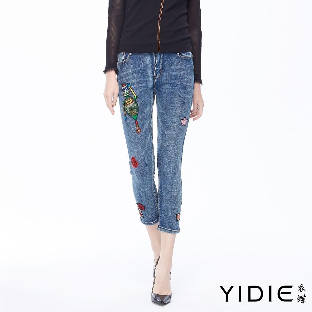 YIDIE衣蝶 高含棉機器人內刷絨保溫牛仔褲-藍