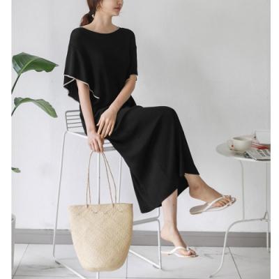 2F韓衣-簡約素色氣質落肩袖舒適造型洋裝-2色(F)