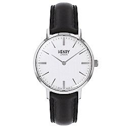 Henry London 英式簡約真皮手錶-白X黑/34mm