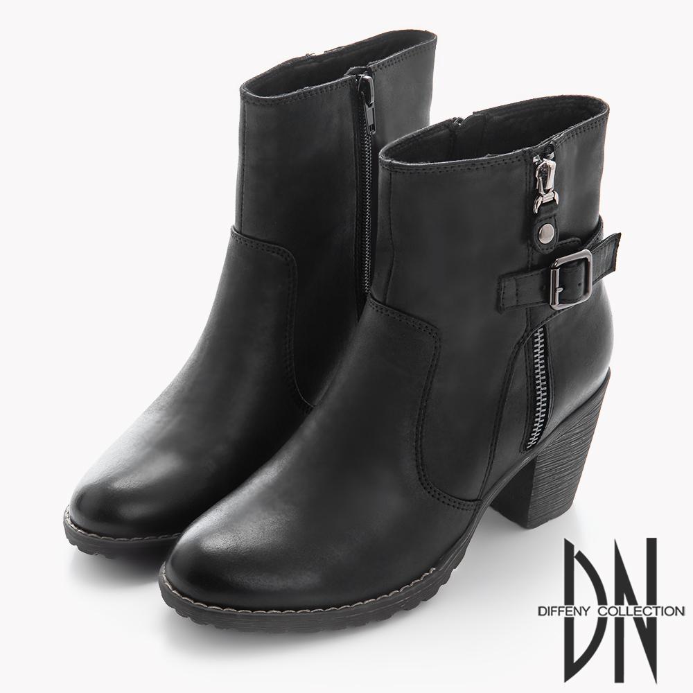 DN 美式風格 率性拉鍊中跟軍短靴-黑