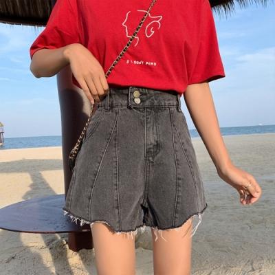 韓版高腰傘狀牛仔短褲L-4XL(共兩色)-WHATDAY