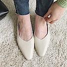 TMH-法國女孩手工牛皮低跟鞋