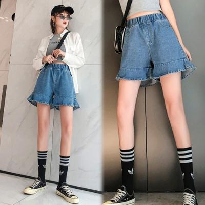 【韓國K.W.】(預購)韓流純淨牛仔短褲裙-1色