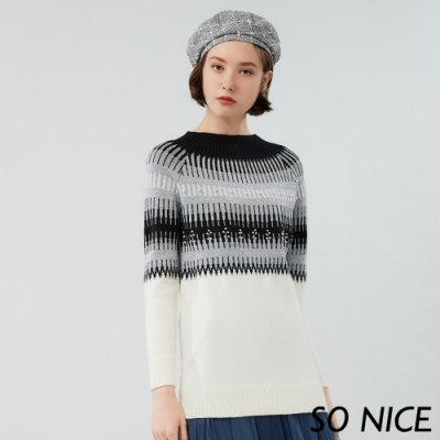 SO NICE優雅銀蔥幾何針織上衣