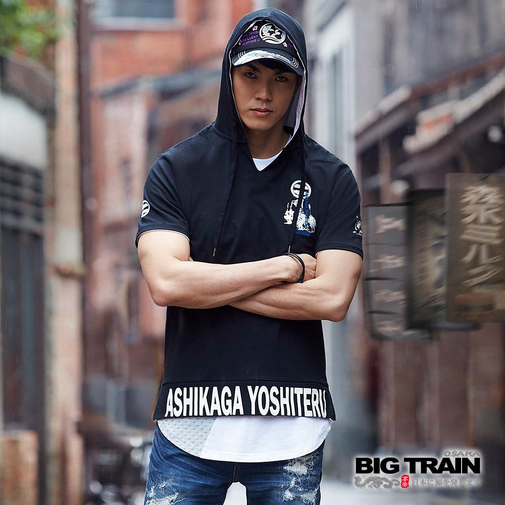 BIG TRAIN 足利義輝連帽短袖-男-黑色