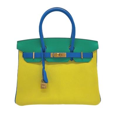 Hermes 訂製款 Birkin 山羊皮手提柏金包(藍黃綠/霧金釦)