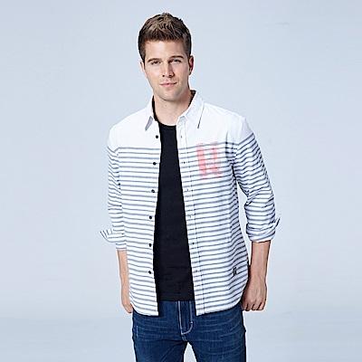 Lee 條紋休閒長袖襯衫/UR-白色