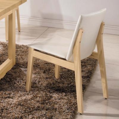 H&D 尼斯原木亞麻白皮餐椅